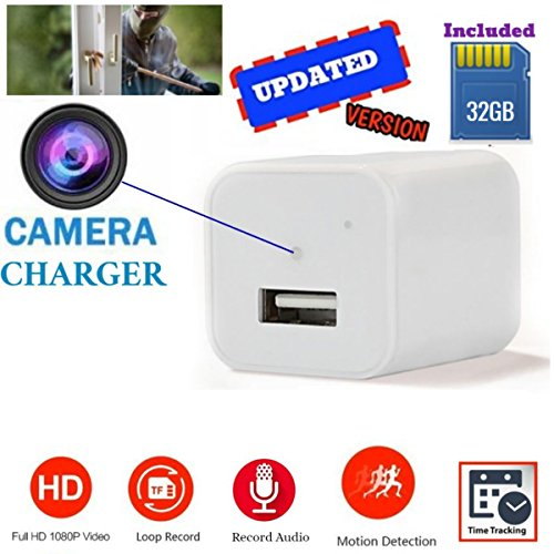 Updated White Usb Wall Charger Hidden Camera 32gb